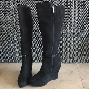 Nine West tall platform boots black 9.5 Medium
